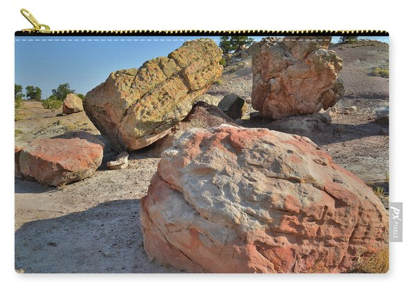 Colorful Boulders In The Bentonite Site On Little Park Road Carry-all Pouch