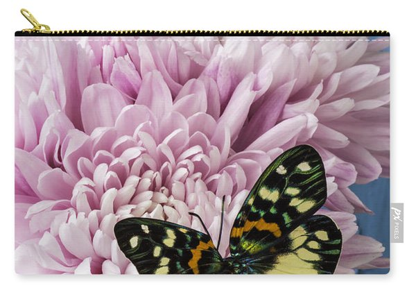 Colorful Butterfly On Pink Mum Carry-all Pouch