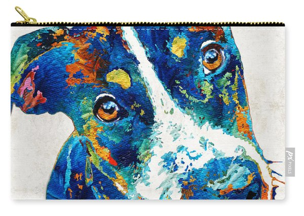 Colorful Dog Art - Happy Go Lucky - By Sharon Cummings Carry-all Pouch