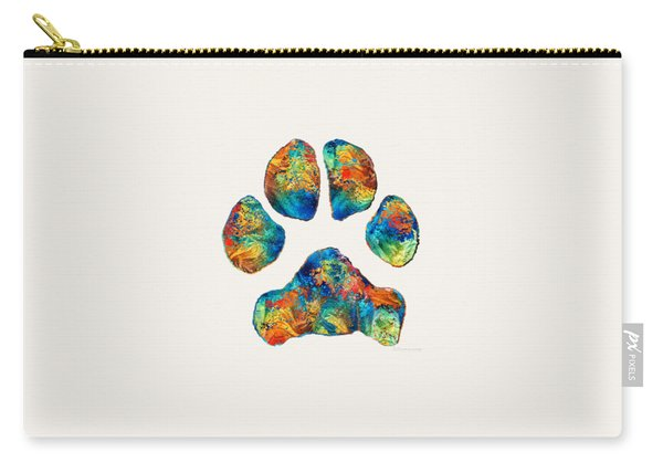 Colorful Dog Paw Print By Sharon Cummings Carry-all Pouch