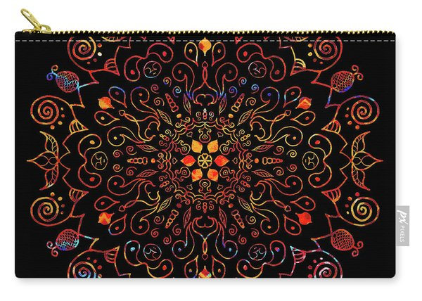Colorful Mandala With Black Carry-all Pouch