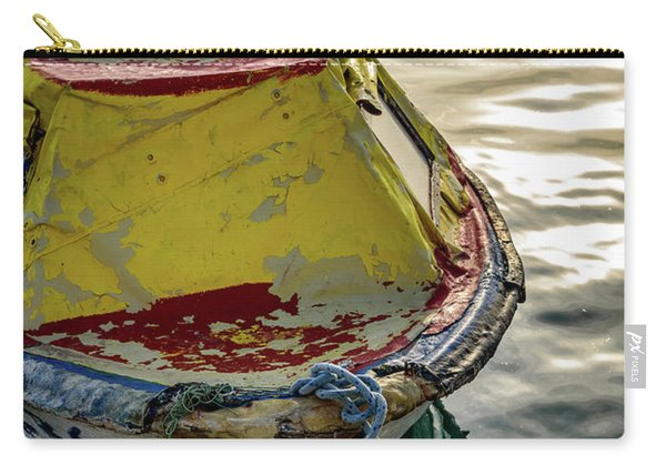 Colorful Old Red And Yellow Boat During Golden Hour In Croatia Carry-all Pouch