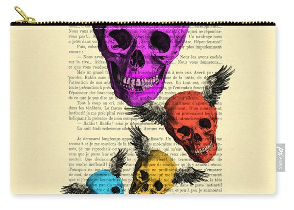 Colorful Rainbow Skull With Wings Illustration On Book Page Carry-all Pouch