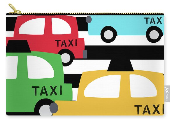 Colorful Taxis- Art By Linda Woods Carry-all Pouch