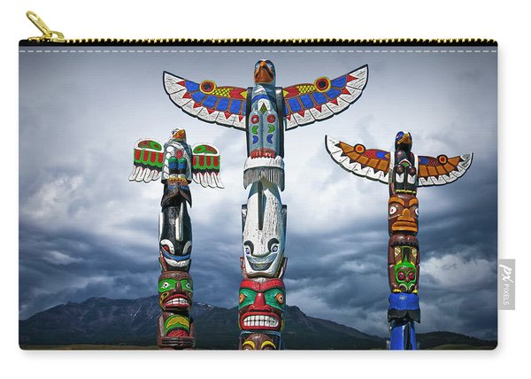 Colorful Totem Poles In The Northwest Carry-all Pouch