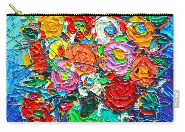 Colorful Wildflowers Abstract Modern Impressionist Palette Knife Oil Painting By Ana Maria Edulescu  Carry-all Pouch