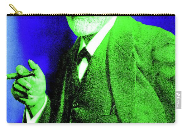 Colorized Photo Of Sigmund Freud  Green And Blue Carry-all Pouch