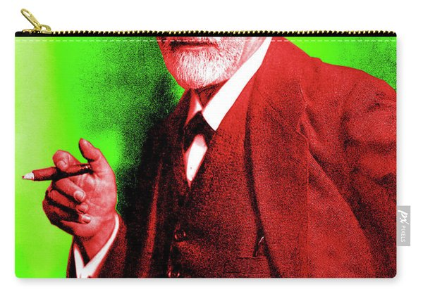 Colorized Photo Of Sigmund Freud  Green And Brown Carry-all Pouch