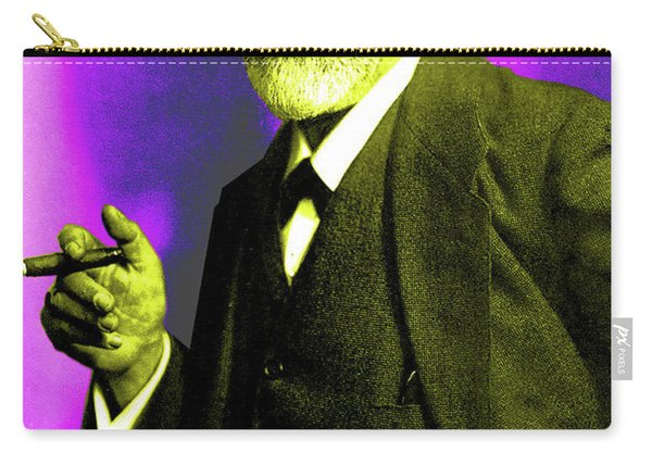 Colorized Photo Of Sigmund Freud  Purple And Green Carry-all Pouch