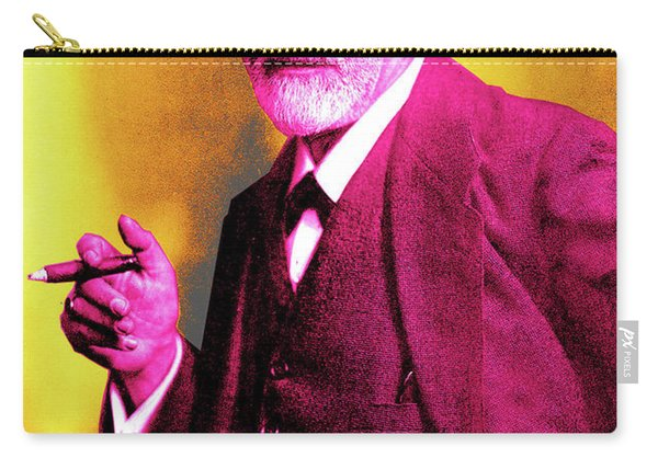 Colorized Photo Of Sigmund Freud  Yellow And Pink Carry-all Pouch