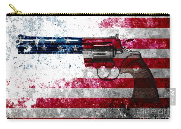 Colt Python 357 Mag On American Flag Carry-all Pouch