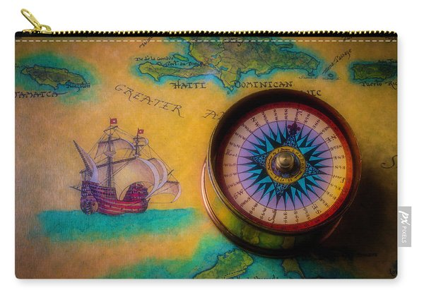 Compass And Ship On Old Map Carry-all Pouch
