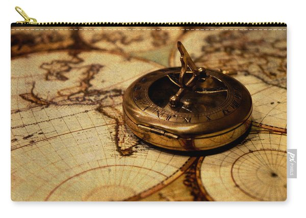 Compass On Vintage Old Map Of The World Carry-all Pouch