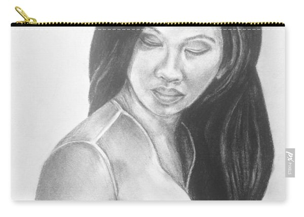 Long Hair Asian Lady With Rose In Sorrow Charcoal Drawing  Carry-all Pouch