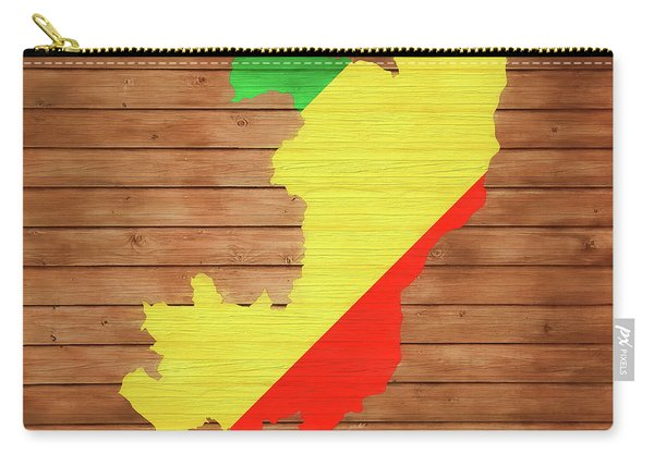 Congo Rustic Map On Wood Carry-all Pouch