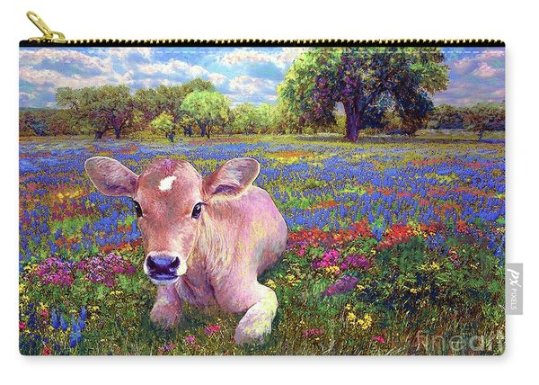 Contented Cow In Colorful Meadow Carry-all Pouch