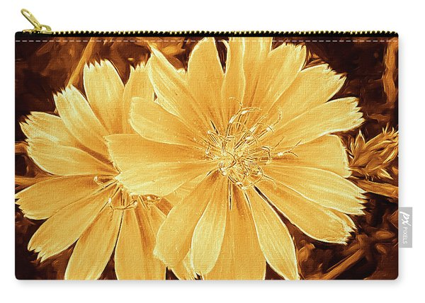 Blue Daisy Twins Copper Carry-all Pouch
