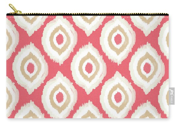 Coral Ikat Design- Art By Linda Woods Carry-all Pouch