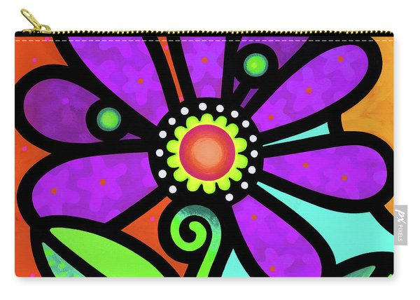 Cosmic Daisy In Purple Carry-all Pouch