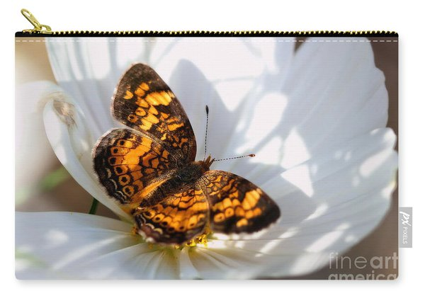 Pearl Crescent Butterfly On White Cosmo Flower Carry-all Pouch