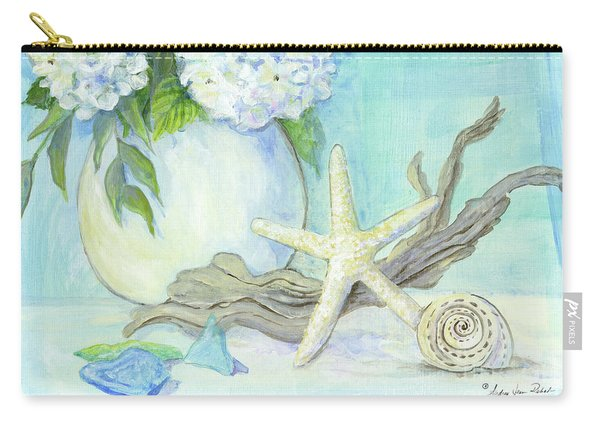 Cottage At The Shore 1 White Hydrangea Bouquet W Driftwood Starfish Sea Glass And Seashell Carry-all Pouch