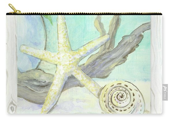 Cottage At The Shore 7 Starfish Driftwood And Seashell Over Wood Carry-all Pouch