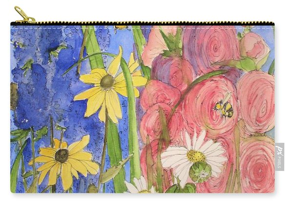 Cottage Garden Daisies And Blue Skies Carry-all Pouch