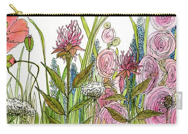 Cottage Hollyhock Garden Carry-all Pouch