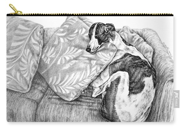 Couch Potato Greyhound Dog Print Carry-all Pouch