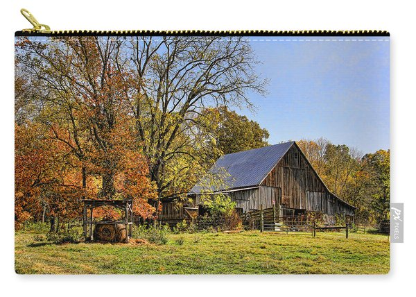 Country Barn And A Pink Flamingo By H H Photography Of Florida Carry-all Pouch