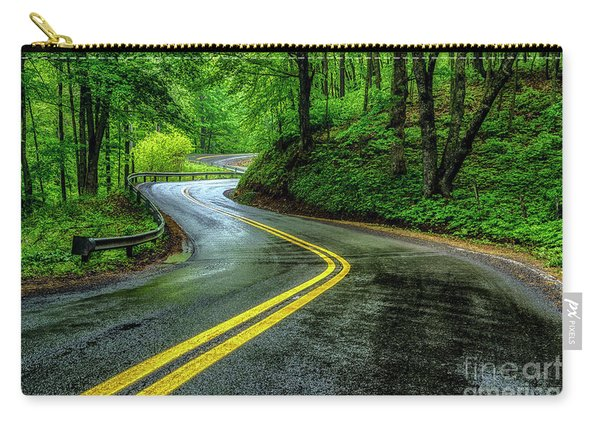 Country Road In Spring Rain Carry-all Pouch