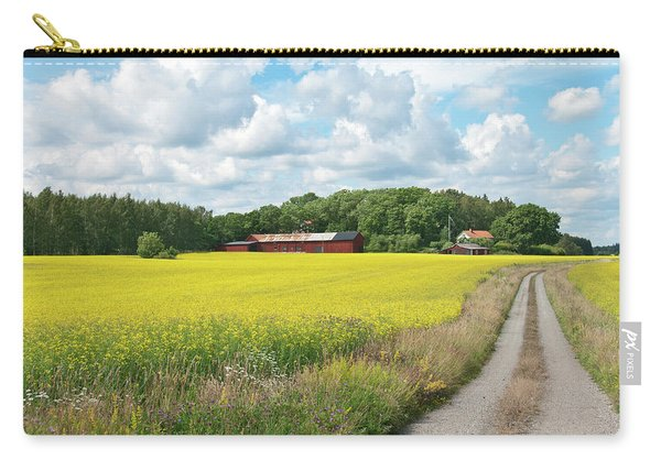 Country Road In Yellow Meadow Carry-all Pouch