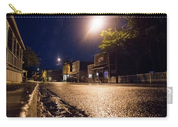 Carry-all Pouch featuring the photograph Coupeville On A Rainy Night by Mary Lee Dereske