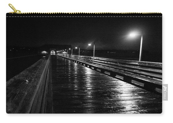 Carry-all Pouch featuring the photograph Coupeville Wharf On A Rainy Night by Mary Lee Dereske