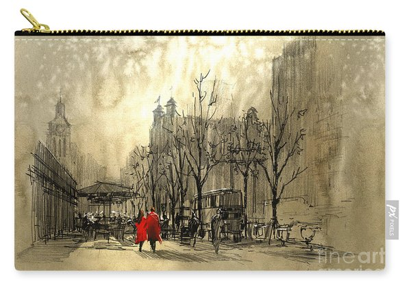 Carry-all Pouch featuring the painting Couple In City by Tithi Luadthong