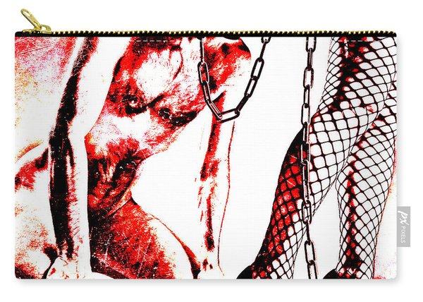 Couple Nude In Bdsm Play And Image Finished In Digital Dots Art  Carry-all Pouch
