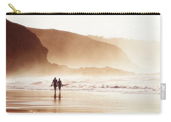 Couple Walking On Beach With Fog Carry-all Pouch