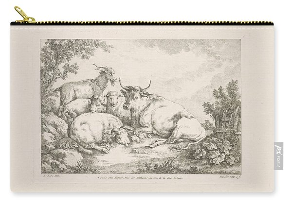 Cow With Sheep And Goats, Balthasar Anton Dunker, After Johann Heinrich Roos, 1769 - 1772 Carry-all Pouch