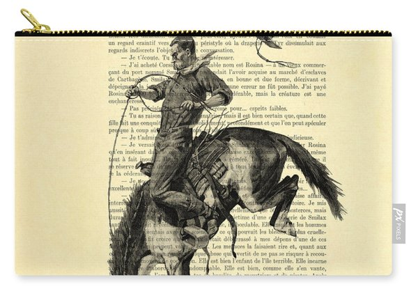 Cowboy And Horse, Western Art Carry-all Pouch
