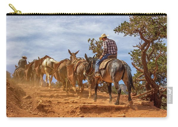 Cowboy And Mule Train On The South Kaibab Trail In The Grand Canyon Carry-all Pouch