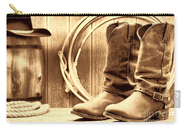 Cowboy Boots On The Deck Carry-all Pouch