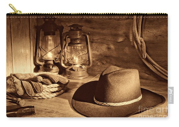 Cowboy Hat And Kerosene Lanterns Carry-all Pouch