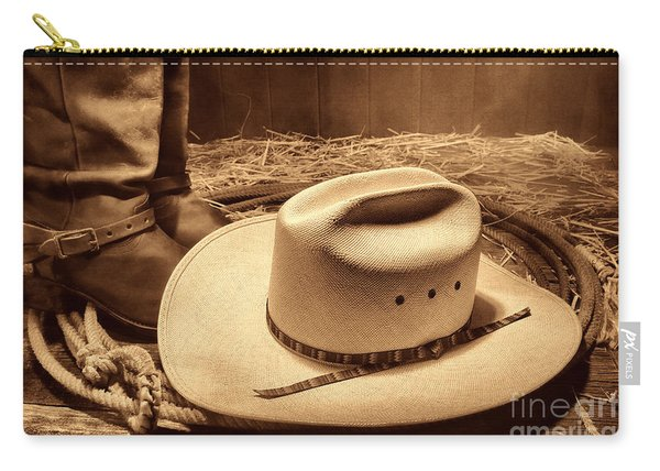 Cowboy Hat On Barn Floor Carry-all Pouch