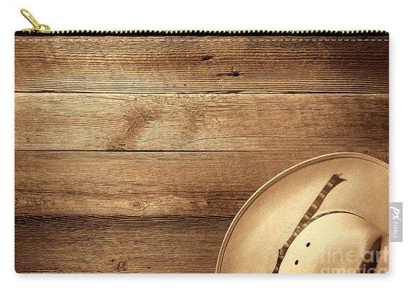 Cowboy Hat On Wood Table Carry-all Pouch