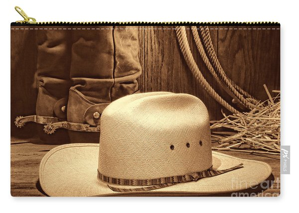 Cowboy Hat With Western Boots Carry-all Pouch