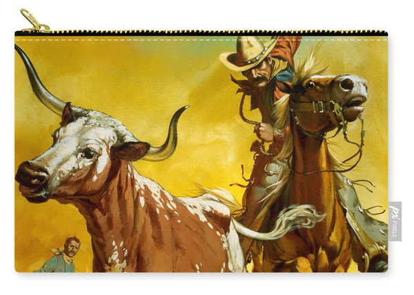 Cowboy Lassoing Cattle  Carry-all Pouch