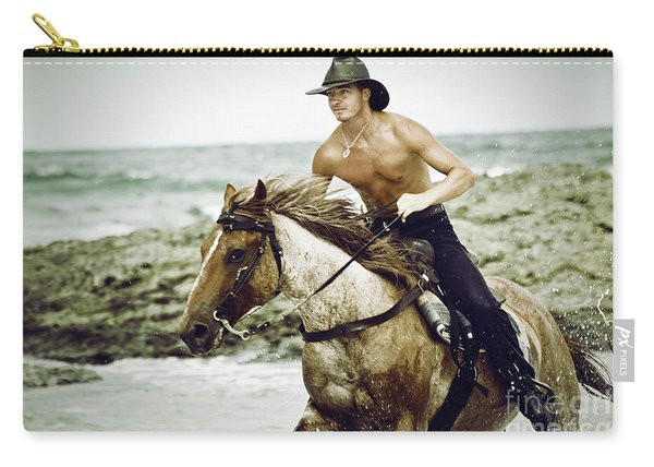 Cowboy Riding Horse On The Beach Carry-all Pouch