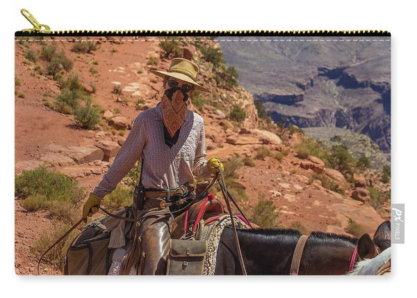 Cowgirl Leading A Mule Train On The South Kaibab Trail Carry-all Pouch