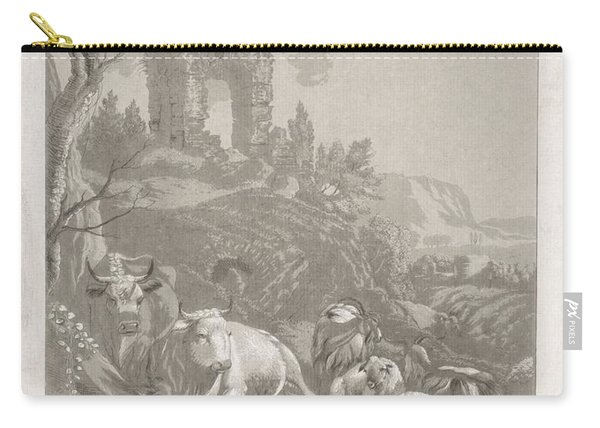 Cows, Goats And Sheep In A Mountainous Landscape With Ruin, Diederik Jan Singendonck, After Christia Carry-all Pouch