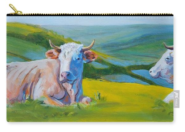 Cows Lying Down In Devon Hills Carry-all Pouch